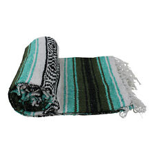 Genuine Mexican Falsa western blanket in a pistacho & olive theme throw mat yoga