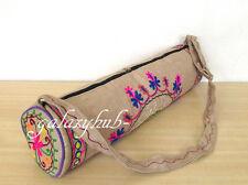 """Indian Embroidered Jute 27"""" Yoga Mat Carrier Bag With Adjustable Shoulder Strap"""