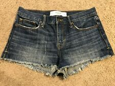 ABERCROMBIE & FITCH Distressed Cut Off Denim Jean Booty Shorts womens 4