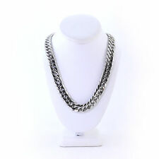 SOLID STAINLESS STEEL SILVER FINISH THICK HEAVY MIAMI CUBAN LINK CHAIN 16MM 24''