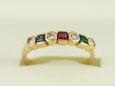 Diamond Ruby Sapphire and Emerald Ring 18ct Gold Ladies Size O 1/4 750 2.8g Dc86