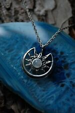 925 Sterling Silver Sun and Moon Pendant with Moonstone Wiccan Pagan
