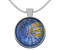 Zodiac Horoscope necklace - CANCER astrological sign - birthday gift stars