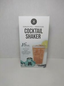 Cocktail Shaker From Silver One Intl. - Glass / Metal Strainer (GREEN) BRAND NEW