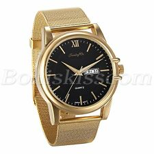 Men's Luxury Stainless Steel Mesh Band Roman Numberals Quartz Date Wrist Watch