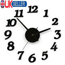 UK Modern Home DIY 3D Number Mirror Wall Sticker Art Clock Living Room Decor