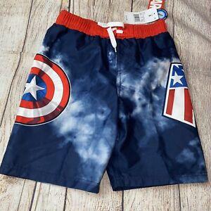 Marvel Boys Small 6/7 Captain America Swim Trunks Swimsuit NEW