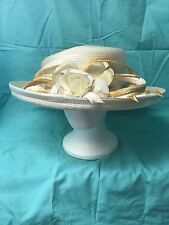 Kentucky Derby; Church Hat; Mother's Day Best; Natural/White/Gold; New