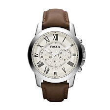 Mens Watch Fossil Brown Leather Grant Cream Chrono FS4735
