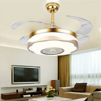 "42"" Remote Control Chandelier Fan w/ Bluetooth Ceiling fan Invisible Fan Design"