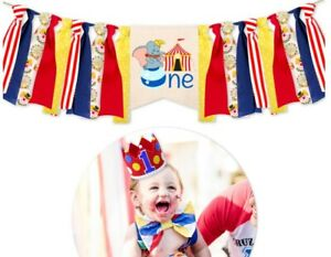 3Pcs Circus Birthday One Party Crown Theme One High Chair Banner One Cake Topper