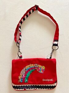 DESIGUAL Girls Red & White Sequin Rainbow Heart Clutch Bag Reversible Sequins