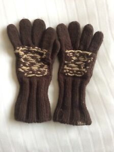 Fatface Thick Chunky Knit Gloves Brown One Size