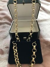 mens 24ct Gold filled Belcher Chain Necklace & Bracelet Set Diamond Cut 24 Inch