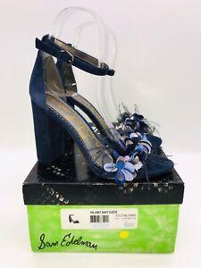Sam Edelman Women's Yal Feathers Dress Sandals Inky Navy Suede - Pick Size