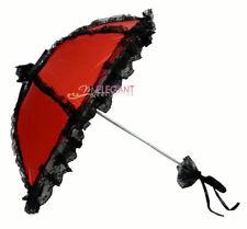 Red Black Battenburg Lace Children Flower Girls Parasol Wedding Party Umbrella