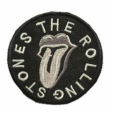 THE ROLLING STONES Punk Rock Patch Black Silver Embroidery Iron On Appliques