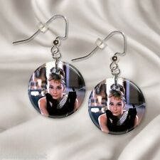 "AUDREY HEPBURN  1"" Button Dangle Earrings  FREE PIN  USA Seller"