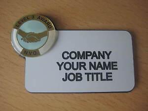 Engraved - NVQ Qualification  2 & 3 Lapel Badges - ADD NAME / JOB TITLE
