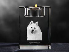 Japanese Spitz, crystal candlestick with dog, souvenir, Crystal Animals Ca