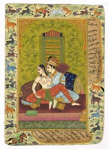 Mughal king With Naked Queen Old Erotic Painting Handmade Indian Miniature Art
