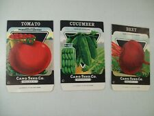 ANTIQUE CARD SEED CO. TURNIP TOMATO CUCUMBER EMPTY SEED PACKS 1920'S NEW YORK