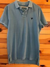 *AMERICAN EAGLE* Men's Athletic Fit Blue Distressed Polo Shirt Size S