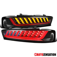 For 2016-2018 Chevy Camaro Black LED Sequential Turn Signal DRL Tail Lights Lamp