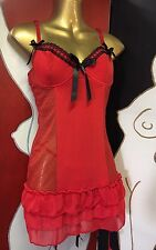 Sexy Red Baby Doll With Attached Suspenders  & Matching Thong Size 10-12 32B