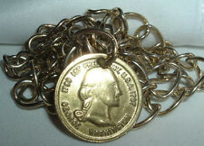 VINTAGE GOLD TONE LINK GEORGE WASHINGTON 1789-1797 REPLICA COIN BELT OR NECKLACE