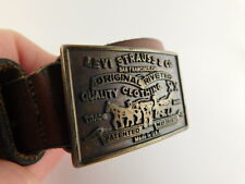 LEVI STRAUSS BELT & BUCKLE EARLY PRE-1971 VINTAGE MADE IN THE USA ON FRONT