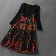 fashion Occident autumn/winter Printed Pattern Long Fitted dress skirt Black