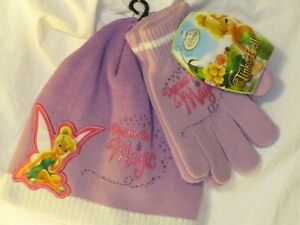 New Girl's Disney TINKERBELL Shimmery Purple Knitted Beanie Hat & Gloves Set