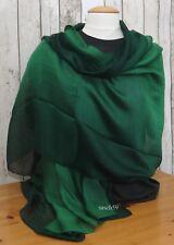 Schal Seide grün dip dye Seidenschal Tuch Stola Schultertuch Pashmina 190cmx84cm
