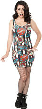 130292 Black & White Striped Welcome to the Sideshow Dress Punk Sourpuss Small S