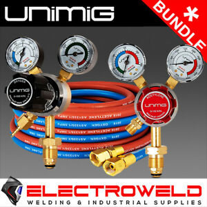 UNIMIG OXY ACET KIT- HOSE & 2 REGULATORS OXYGEN ACETYLENE GAS WELDING FLOW METER
