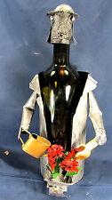 Wine Bottle Caddie Gardner with Flowers Metal Bar Accessory