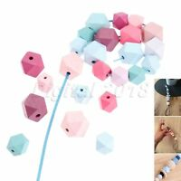 2Size Geometric Hexagon Painted Natural Wood Loose Beads DIY Baby Jewelry Making