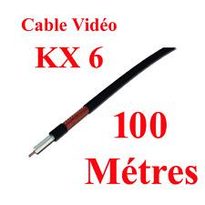 Câble VIDEO KX6 DIAMETRE 6 MM sous Gaine Noire ou Verte  Long 100 Métres