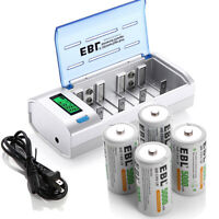 4x C Size Rechargeable Batteries and LCD AA AAA C D 9V NIMH NICD Battery Charger
