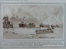 1915 RED CROSS MOTOR BARGES BRINGING IN THE WOUNDED; GERMAN MINE BLOWN WWI WW1