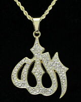 "Allah Icy Pendant Hip Hop 14k Gold Plated w/ 24"" Rope Chain"