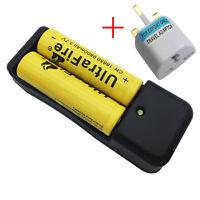2X 18650 Battery 9800mAh 3.7V Li-ion Rechargeable Flat Top&EU Charger+UK Adapter
