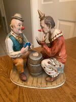 "Vintage Porcelain Clown Figurine Clowns Playing Cards on Barrel  8.5""x7 3/4""x4.5"