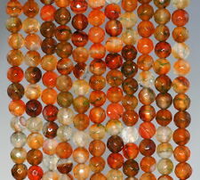 6MM FIREWORKS CRACKLE AGATE GEMSTONE YELLOW BROWN FACETED ROUND LOOSE BEADS 14""