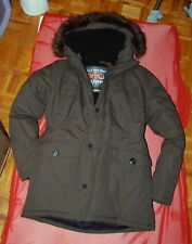 NWT SUPERDRY Everest Mountain Parka Co. mens khaki faux fur hood puffy parka L