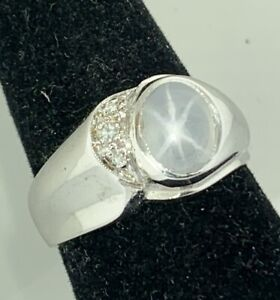 Estate Men's Grey Natural Star Sapphire Diamond Ring 14k White Gold Size 9.0