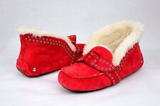 UGG Poler Fully Lined Suede Wool Moccasin Slippers Lipstick Red Size 5 US