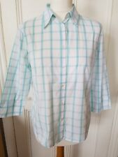 RACING GREEN womens shirt blouse Size 14 - mint & white check - office smart