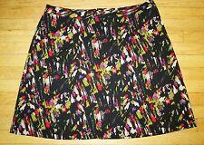 Lane Bryant A-Line Black Olive Red Gray Print Stretch Skirt Knee Length Size 20